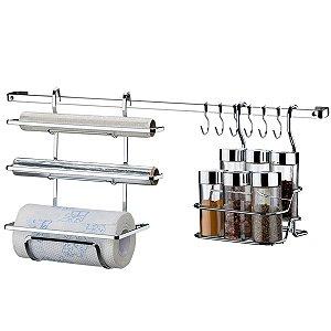 Kit Suportes Porta Rolo Triplo Papel Toalha Condimentos Temperos Com Barra 45cm Cromado Cozinha - Future