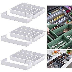 Kit 3 Organizador De Gaveta Divisor Porta Talheres Com Extensor 40x33x6,5cm - Paramount - Branco