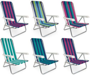 Kit 6 Cadeira De Praia Reclinável 4 Posições Listrada Alumínio - Mor - Sortido