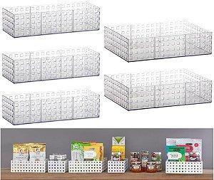 Kit 5 Cesto Organizador Empilhável Armário Bancada Quadratta - Paramount - Cristal