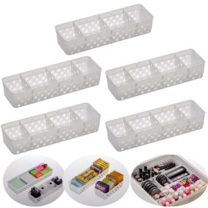 kit 5 Cesto Organizador Plástico De Gaveta Mesa Divisória Multiuso Modular - 1065 Paramount - Branco