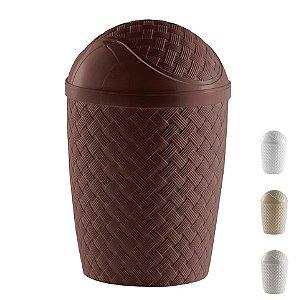 Lixeira Basculante Rattan 4,2 L Cesto Lixo Banheiro Cozinha - 829 Paramount - Marrom