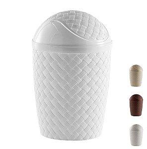 Lixeira Basculante Rattan 7,8 L Cesto Lixo Banheiro Cozinha - 830 Paramount - Branco