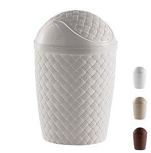 Lixeira Basculante Rattan 7,8 L Cesto Lixo Banheiro Cozinha - 830 Paramount - Cinza