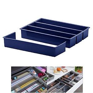 Organizador Divisor Gaveta Porta Utensílios Talheres Extensor 35x25x6,5cm - Paramount - Azul Marinho