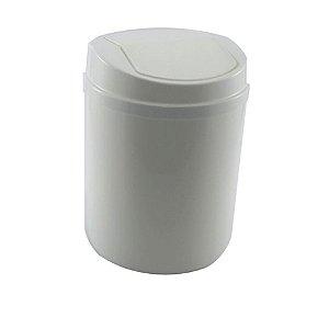 Lixeira 5 Litros Plástico Com Tampa Basculante Branco Preto Cozinha Banheiro - RDP - Branco