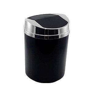Lixeira 5 Litros Plástico Tampa Basculante Metalizada Cromado Cozinha Banheiro - RDP - Preto