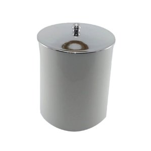 Lixeira 5 Litros Plástico Tampa Metalizada Cromado Cozinha Banheiro - RDP - Branco