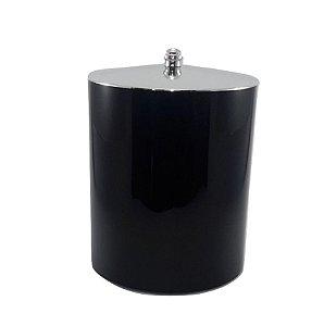 Lixeira 5 Litros Plástico Tampa Metalizada Cromado Cozinha Banheiro - RDP - Preto