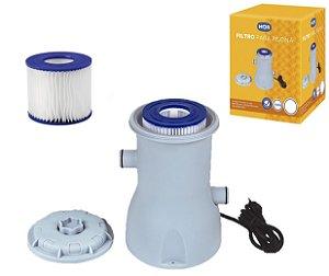 Kit Filtro Para Piscina Bomba Vazão 2.200 L/h Com 1 Refil Extra - Mor - 220v