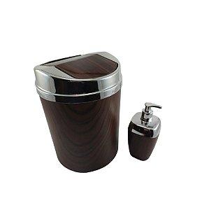 Conjunto Lixeira 5 Litros Tampa Basculante + Porta Sabonete Líquido Amadeirado Banheiro - RDP
