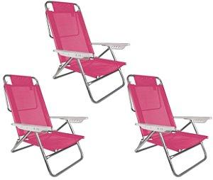 Kit 3 Cadeira Reclinável Summer 6 Posições Alumínio Praia Camping - Mor - Rosa