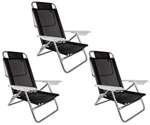 Kit 3 Cadeira Reclinável Summer 6 Posições Alumínio Praia Camping - Mor - Preto