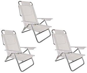 Kit 3 Cadeira Reclinável Summer 6 Posições Alumínio Praia Camping - Mor - Branco