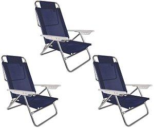 Kit 3 Cadeira Reclinável Summer 6 Posições Alumínio Praia Camping - Mor - Azul Marinho