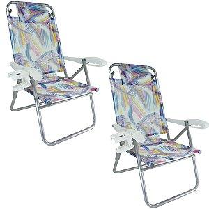 Kit 2 Cadeiras Up Line Aquarela Reclinável 5 Posições Alumínio Com Almofada Porta Copos Praia Camping - Zaka  - Aquarela