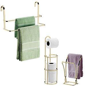 Kit Porta Toalha Toalheiro Box Suporte Porta Papel Higiênico Chão Parede Bancada Banheiro Dourado - Future