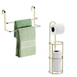 Kit Porta Toalha Toalheiro Box Suporte Porta Papel Higiênico Chão Parede Banheiro Dourado - Future
