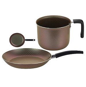Conjunto Frigideira Ø26cm Alumínio Antiaderente + Leiteira Fervedor Cabo Baquelite Cozinha - Multiflon - Furta Cor