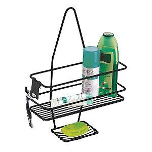 Suporte Porta Shampoo Sabonete De Registro Com Gancho Móvel Banheiro Preto Fosco - 997PT Future
