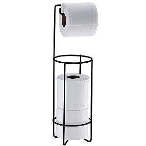 Suporte Porta Papel Higiênico Triplo Aramado De Chão Banheiro Preto Fosco - 1051PT Future
