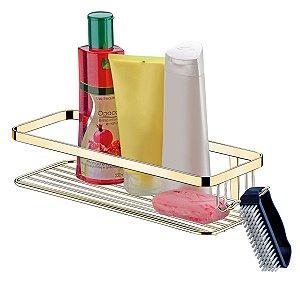 Suporte Porta Shampoo Sabonete Creme Com Gancho Parede Aramado Banheiro Dourado - 1101DD Future