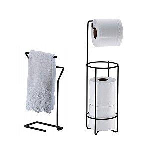 Suporte Porta Papel Higiênico Triplo Aramado Toalheiro de Rosto Mão Bancada Banheiro Preto Fosco - Future