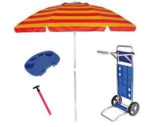 Kit Praia Guarda Sol 2,4m Carrinho Simples Mesinha Para Cadeira Saca Areia Pressão - Mor - Vermelho