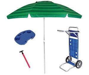 Kit Praia Guarda Sol 2,4m Carrinho Simples Mesinha Para Cadeira Saca Areia Pressão - Mor - Verde
