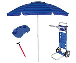 Kit Praia Guarda Sol 2,4m Carrinho Simples Mesinha Para Cadeira Saca Areia Pressão - Mor - Azul