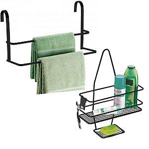 Kit Suporte Porta Shampoo Sabonete De Registro Toalheiro box Banheiro Preto Fosco - Future