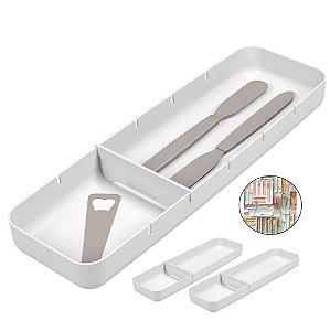 Kit 3 Organizador Talheres Com Divisória Gaveta Faca Garfo Colher Cozinha Perfect - Coza - Branco