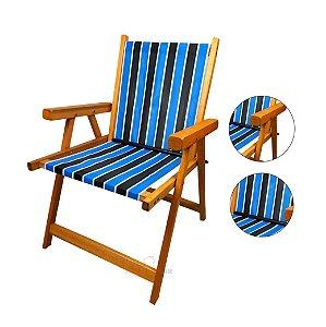 Cadeira De Madeira Dobrável Para Lazer Jardim Praia Piscina Camping - AMZ - Tricolor