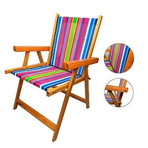 Cadeira De Madeira Dobrável Para Lazer Jardim Praia Piscina Camping - AMZ - Rosa
