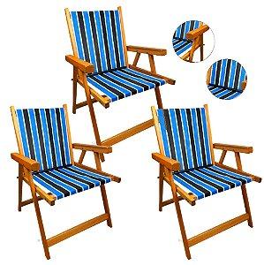 Kit 3 Cadeira De Madeira Dobrável Para Lazer Jardim Praia Piscina Camping - AMZ - Tricolor
