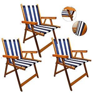 Kit 3 Cadeira De Madeira Dobrável Para Lazer Jardim Praia Piscina Camping - AMZ - Azul Marinho