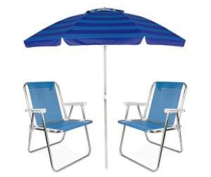 Kit Praia Guarda Sol Articulado 2m Cadeira Alta Sannet Alumínio - Mor - Azul