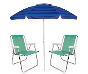 Kit Praia Guarda Sol Articulado 2m Cadeira Alta Sannet Alumínio - Mor - Verde