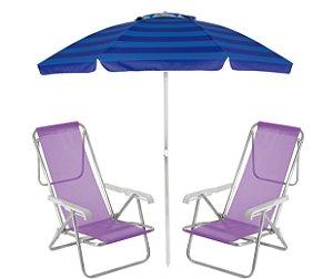 Kit Praia Guarda Sol Alumínio Articulado 2m Cadeira Reclinável 8 Posições Sannet - Mor - Lilás