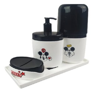 Kit Dispenser Sabonete Líquido + Porta Escova Creme Dental + Saboneteira Mickey + Bandeja Banheiro - Coza