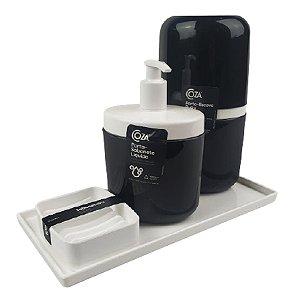 Kit Dispenser Sabonete Líquido + Porta Escova Creme Dental + Saboneteira Full + Bandeja Banheiro - Coza