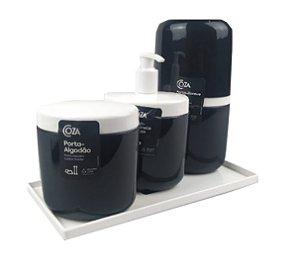 Kit Dispenser Sabonete Líquido + Porta Escova Creme Dental + Suporte Algodão Full + Bandeja Banheiro - Coza