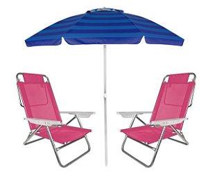 Kit Praia Guarda Sol Alumínio Articulado 2m Cadeira Reclinável Summer 6 Posições - Mor - Rosa