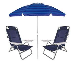 Kit Praia Guarda Sol Alumínio Articulado 2m Cadeira Reclinável Summer 6 Posições - Mor - Azul Marinho