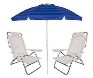Kit Praia Guarda Sol Alumínio Articulado 2m Cadeira Reclinável Summer 6 Posições - Mor - Branco
