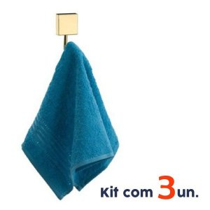 Kit Banheiro 3 Gancho Porta Toalha Cabide Parede Dourado Ouro - Future