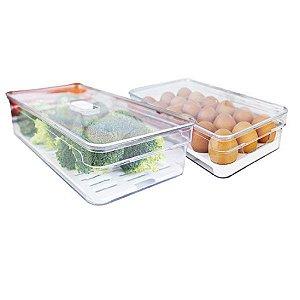 Kit 2 Organizador Porta Mantimento Ovos 2,8L  Tampa Geladeira Fruta Verdura Clear Fresh - Ou