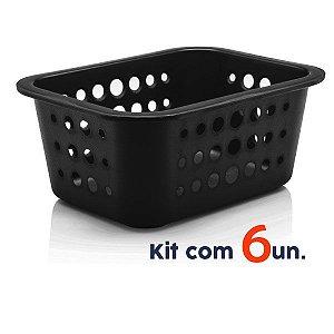 Kit 6 Cestos Caixas Organizadoras P 1,5L Lavanderia Closet Multiuso - Ou