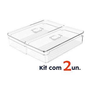 Kit 2 Organizador Porta Mantimento 2,8L C/ Tampa Geladeira Fruta Verdura Clear Fresh - Ou