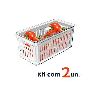 Kit 2 Organizador Porta Mantimento 5 L Com Tampa Cesto Fruta Verdura Clear Fresh - Ou